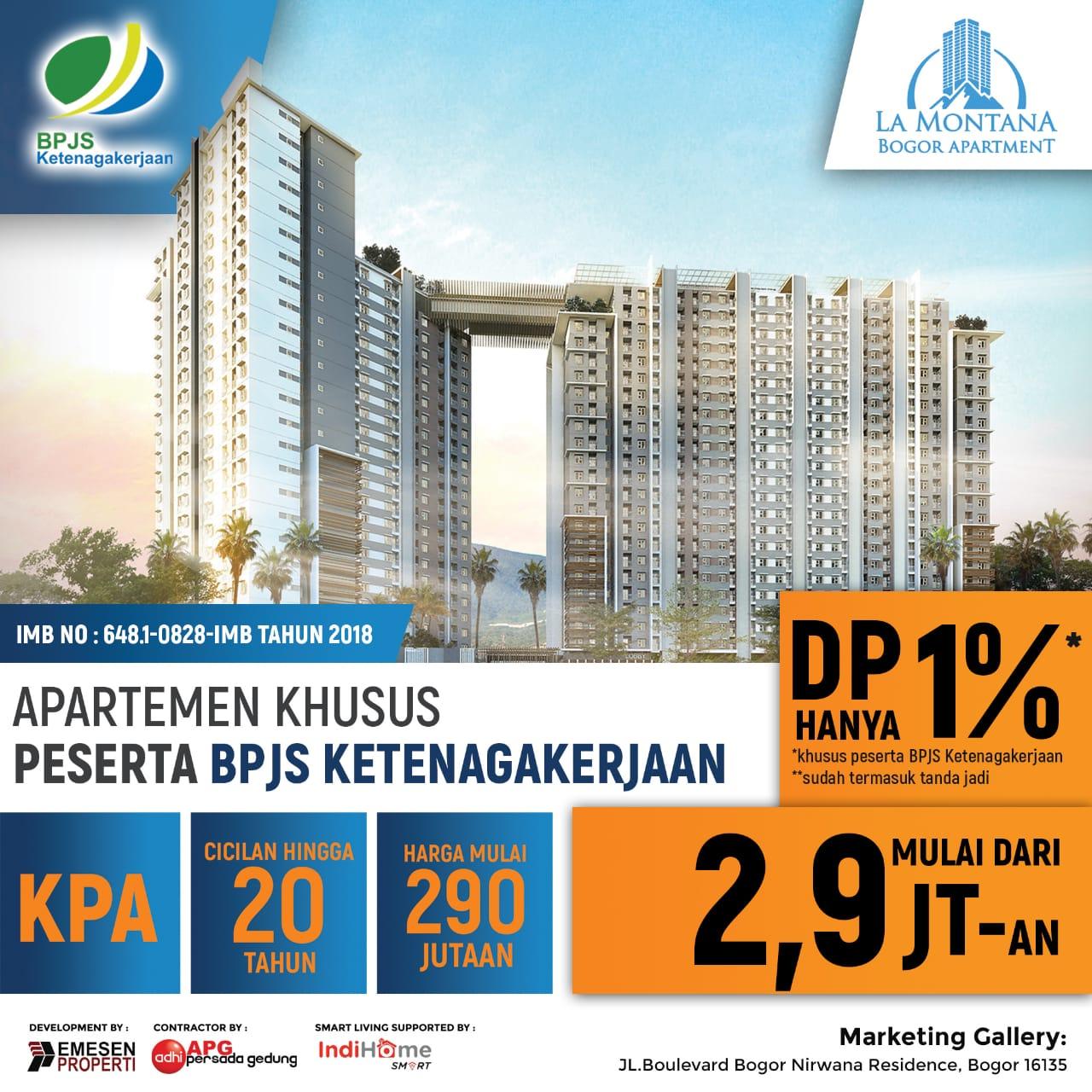 Program DP 1 Persen Apartemen La Montana Bogor
